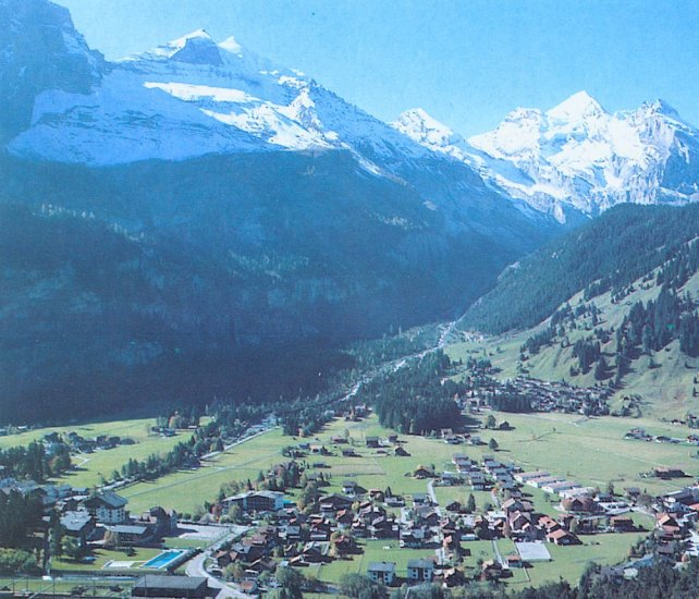 Village of Kandersteg in the Bernese Oberlands Region of the Swiss Alps