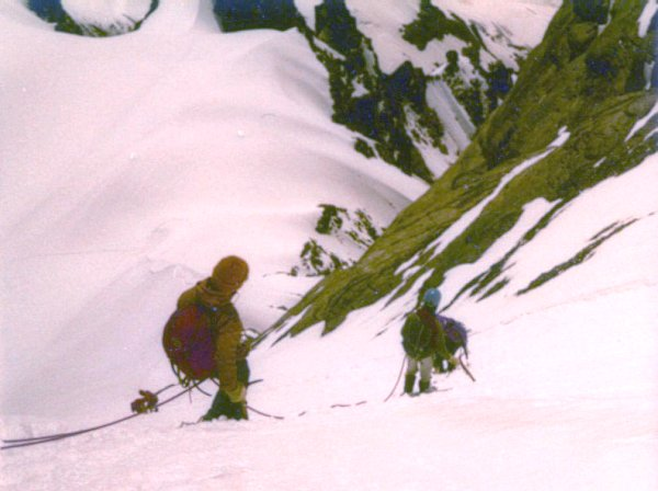 Descending from summit of the Wetterhorn