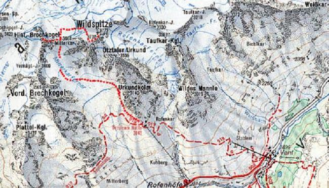 Map for Wildspitze in the Otztal Alps of the Austrian Tyrol