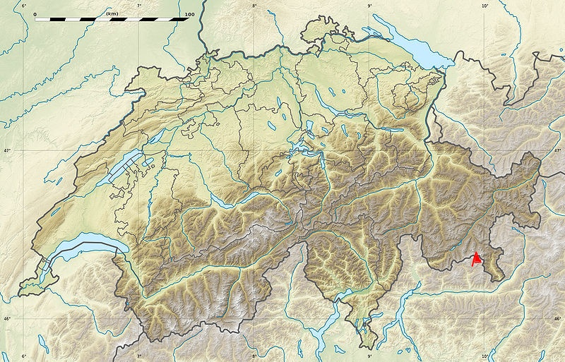 Location Map for the Bernina Range on the border of Italy and Switzerland