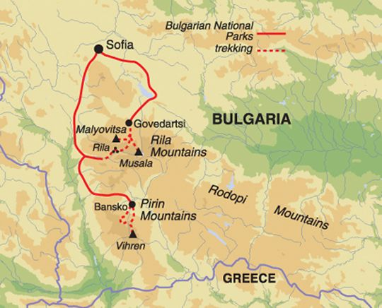 Route Map for Mount Musala and the Pirin Mountains of Bulgaria