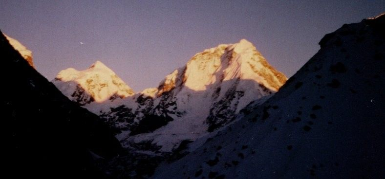 Sunset on Dorje Lakpa in the Jugal Himal on descent from Tilman's Pass