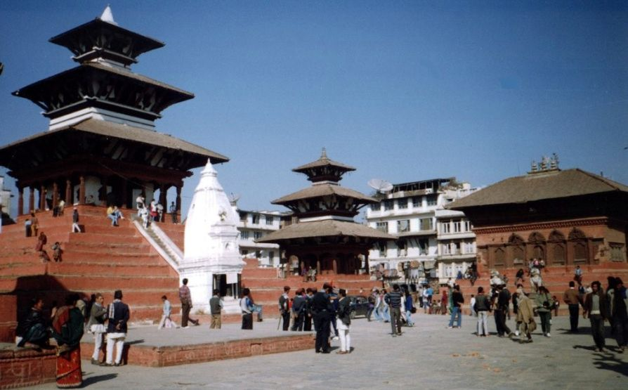Medieval Pagoda-style Temples in Durbar Square in Kathmandu
