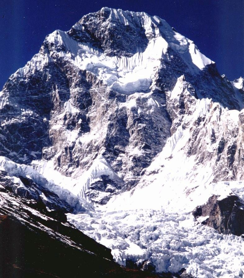 Baudha Peak from Chhuling Glacier on descent from Rupina La on Manaslu Circuit Trek in the Nepal Himalaya
