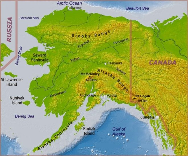 Physical Map for Mount Logan in the Yukon Territory of Canada