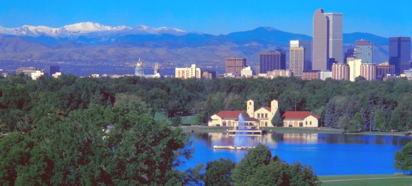 City Park in Denver beneath the Rocky Mountains in Colorado, USA