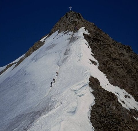 Approaching summit of the Wildspitze in the Otztal Alps of Austria
