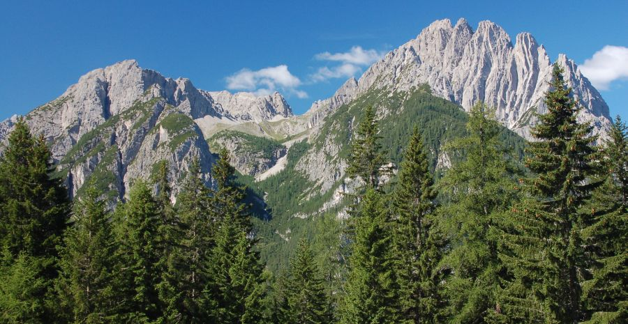 Kreuzkofel and Spitzkofel in the Lienzer Dolomites in Southern Austria