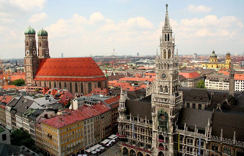 Freuenkirche and Rathaus in Munich in Bavaria in Germany
