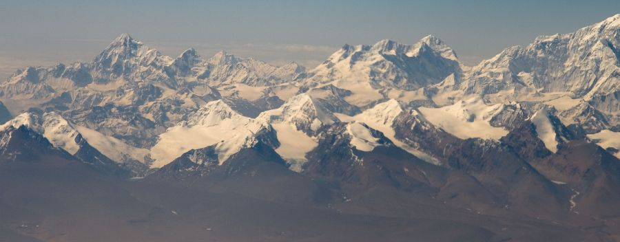 Aerial view of Siniolchu, Kabru and Kangchenjunga