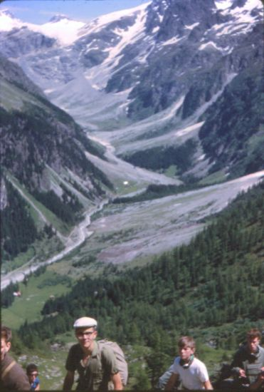 Mutthorn and Kander Valley on ascent to Lotschen Pass