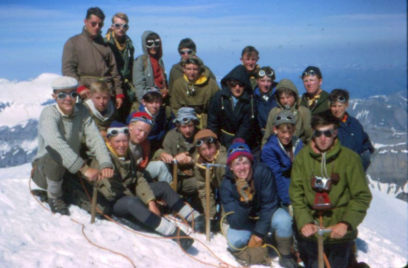 24th Glasgow ( Bearsden ) Scout Group on summit of Rinderhorn in the Bernese Oberland region of the Swiss Alps