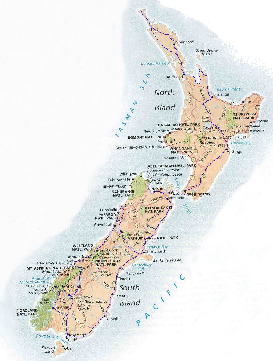 Maps of New Zealand Auckland Wellington the capital city