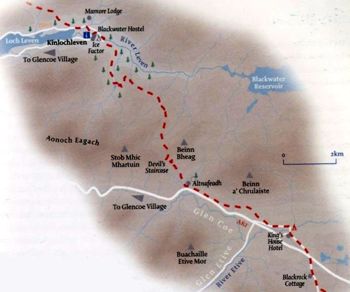 Map of the West Highland Way from Kingshouse to Kinlochleven