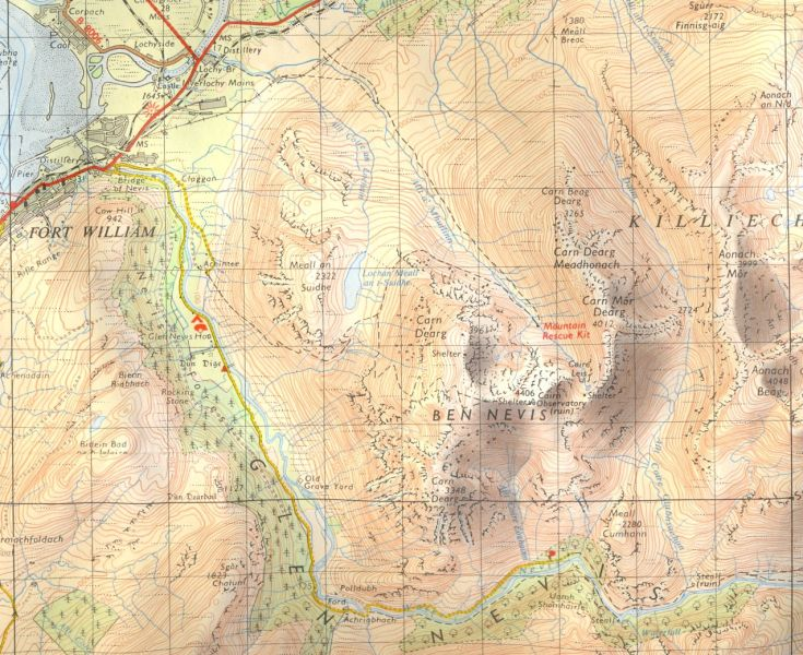 Map and access routes for Ben Nevis