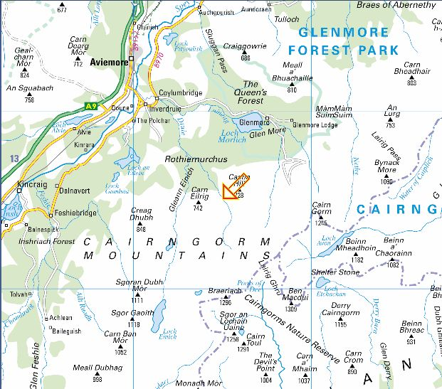 Map of the Cairngorms Massif