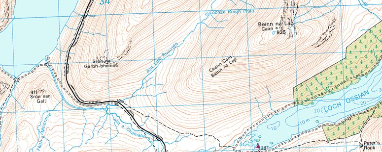 Map for Loch Treig and Beinn na Lap