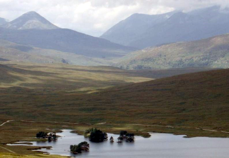 Glen Nevis from Loch Ossian in the Highlands of Scotland