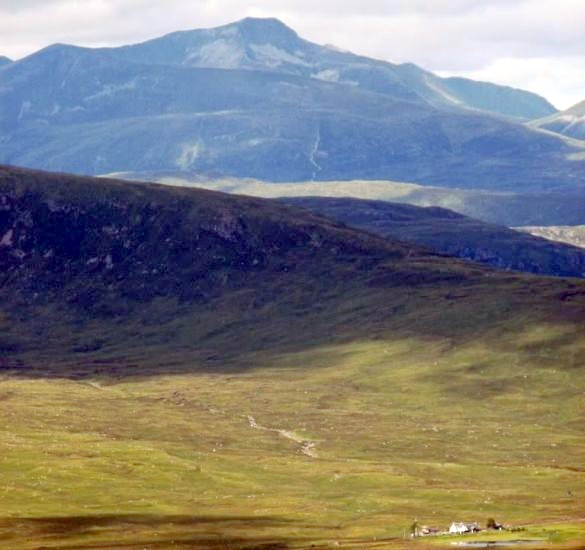 Corrour Railway Station and the Mamores in the Highlands of Scotland