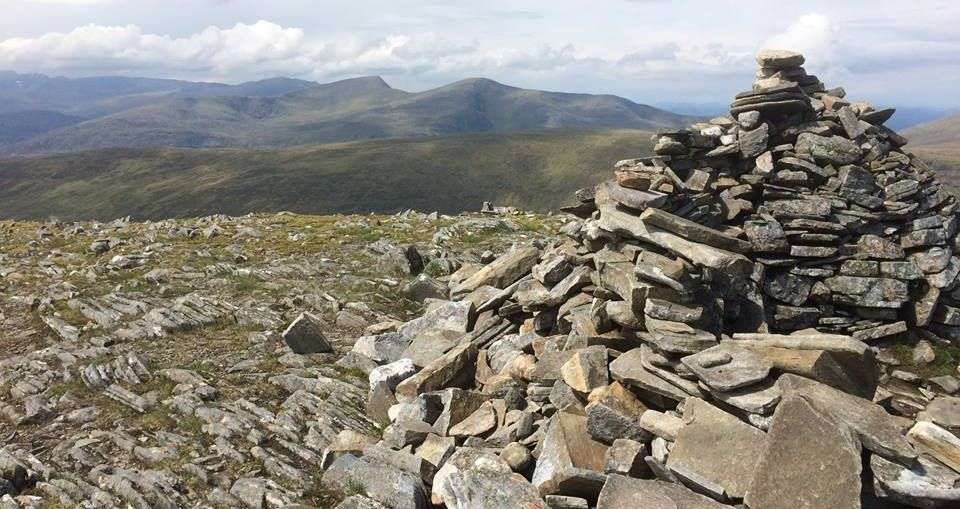 Summit cairn on Beinn na Lap in the Highlands of Scotland
