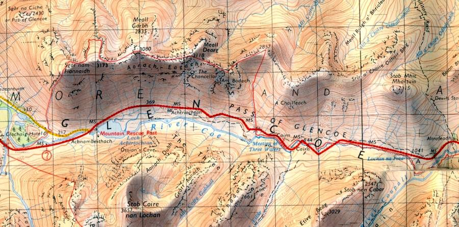 Map for the Aonach Eagach Ridge