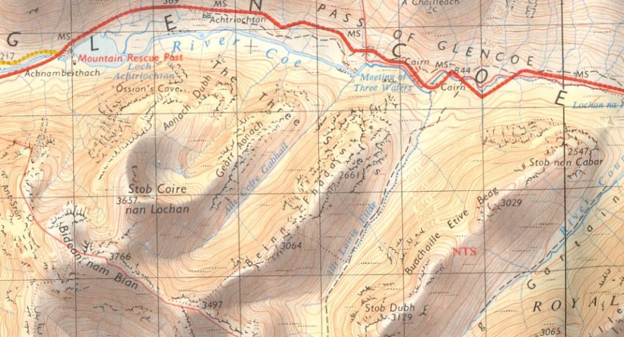 Location Map and Access Route for Bidean Nam Bian in Glencoe