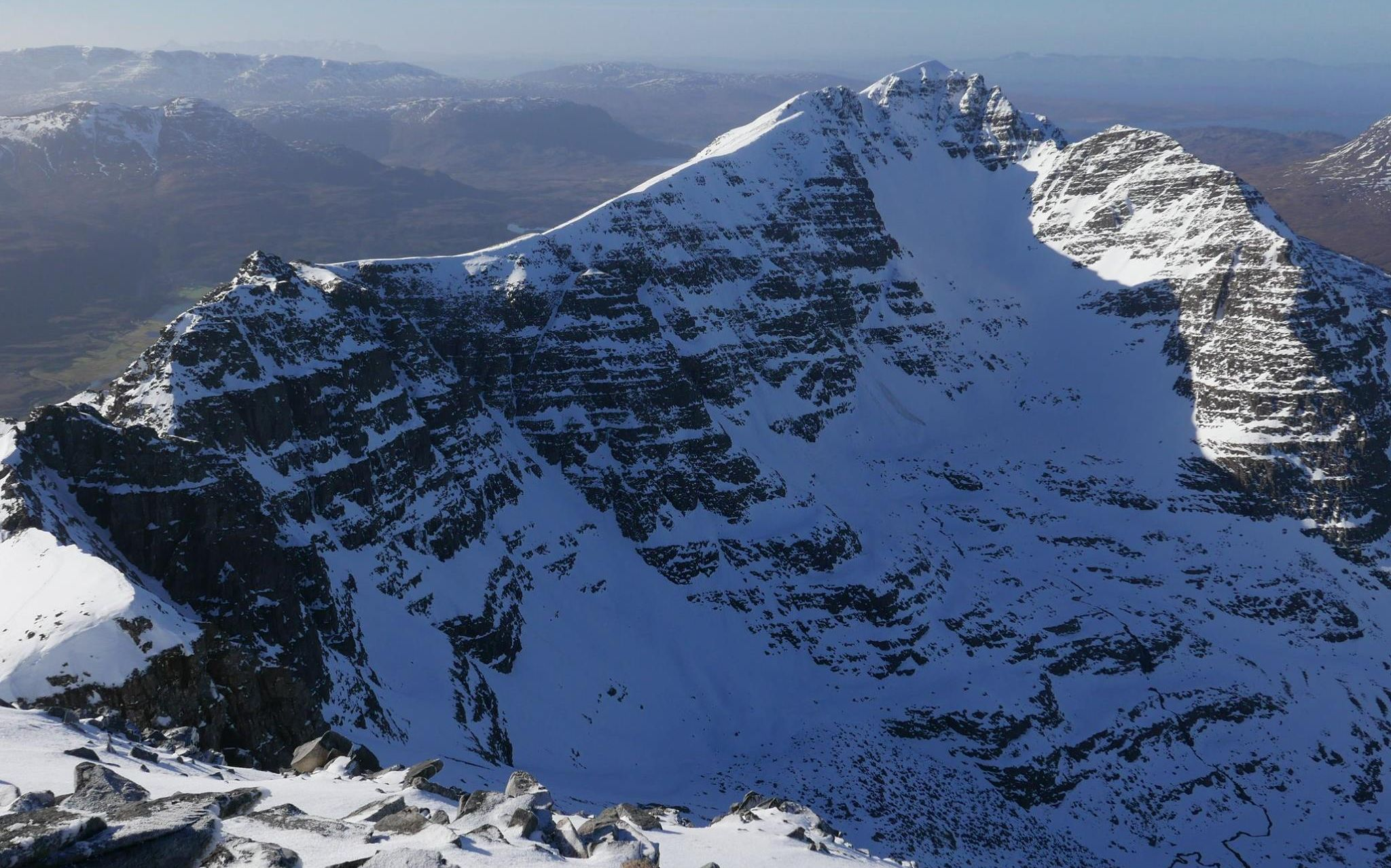 Snow-bound summit ridge of Liathach in winter in the Torridon Region of the NW Highlands of Scotland