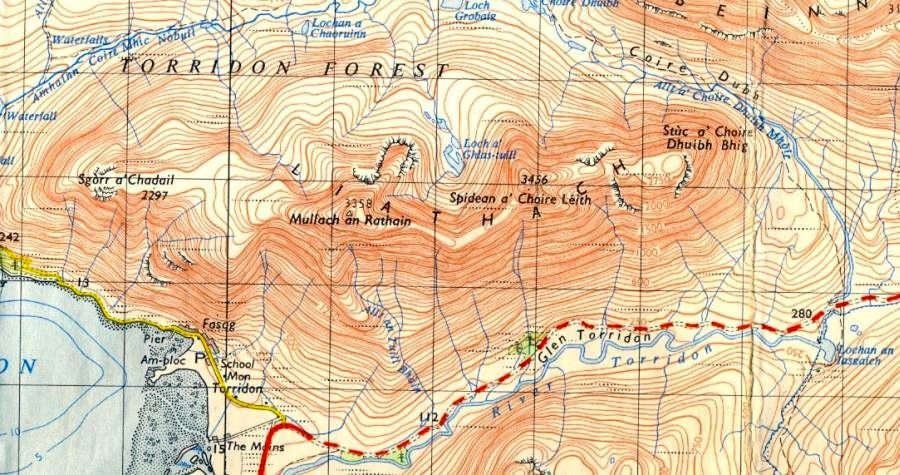 Map of Liathach in the Torridon Region of the NW Highlands of Scotland