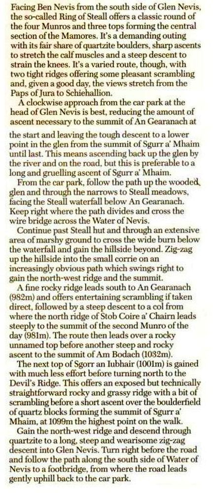 The Ring of Steall - Route Description