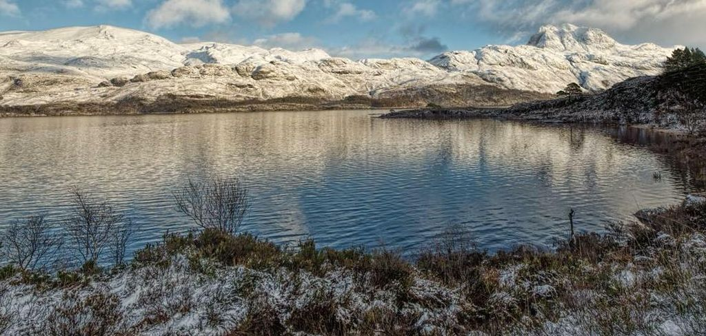 Slioch in winter from Loch Maree in the North West Highlands of Scotland
