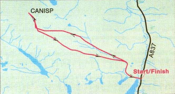 Route map for Canisp in the NW Highlands of Scotland