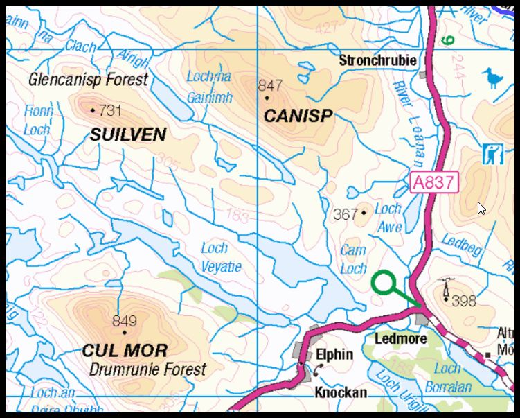 Map of Suilven and Canisp in the NW Highlands of Scotland