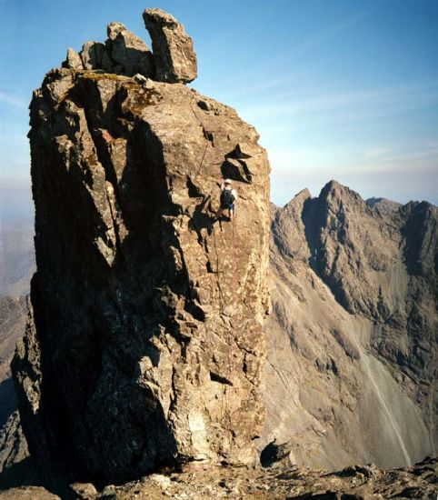 Abseiling down the West Ridge of the Inaccessible Pinnacle on the Skye Ridge