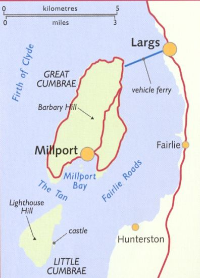 Maps Of The Island Of Great Cumbrae In The Firth Of Clyde Off The West Coast Of Scotland Showing