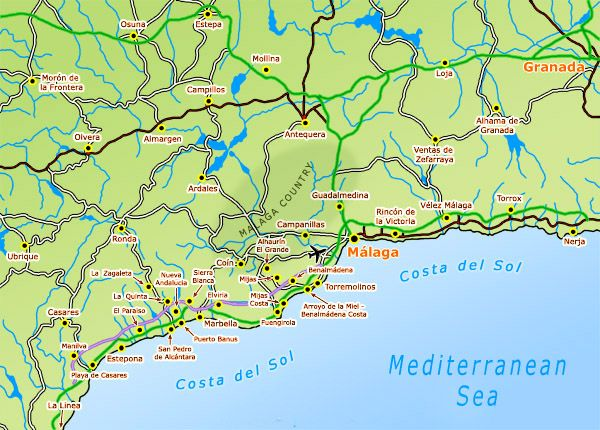 Detailed Map Of Southern Spain.Photograph And Location Map Of Nerja On The Costa Del Sol In