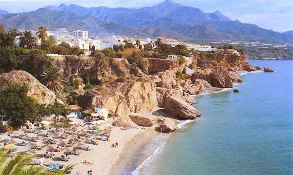 Photograph and location map of Nerja on the Costa del Sol in ...