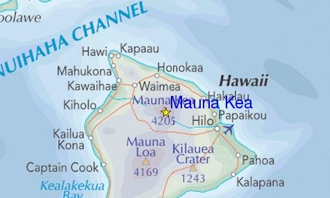 Photographs and location map of the volcano Mauna Kea ...