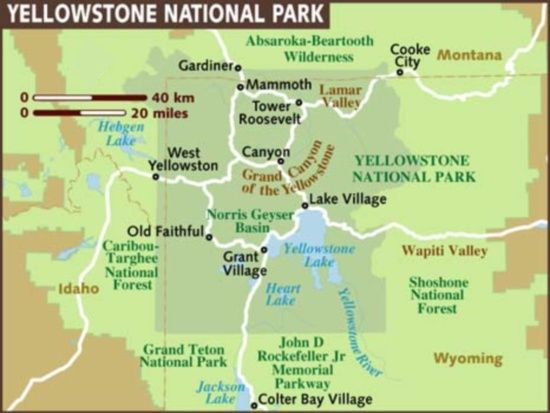 Photographs And Map Of Yellowstone National Park In