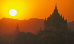Sunset on Temples at Bagan in central Myanmar / Burma