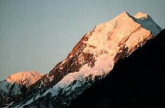 Sunset on Mount Cook in the Southern Alps of New Zealand