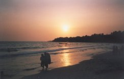 Sunset on Serendipity Beach at Sihanoukville in Southern Cambodia