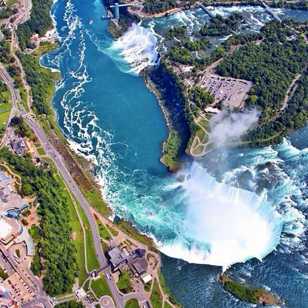 An aerial overview of Niagara Falls.