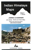 India Himalaya Map 3: Jammu & Kashmir ( Nubra Valley, Leh & Zanskar area ).